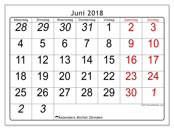 Kalender juni 2018, Oseus