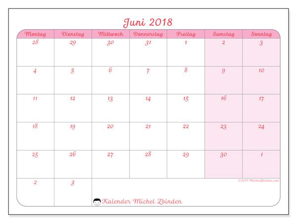 Kalender Juni 2018, Rosea