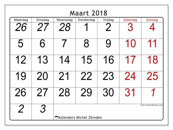 Kalender maart 2018, Oseus