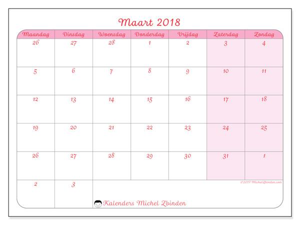 Kalender maart 2018, Rosea
