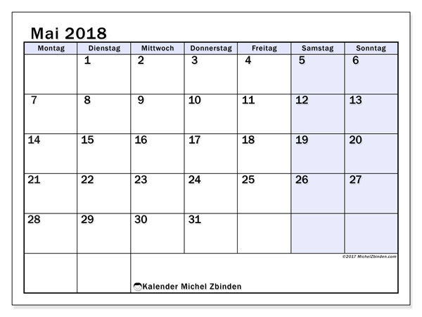 Kalender Mai 2018, Auxilius