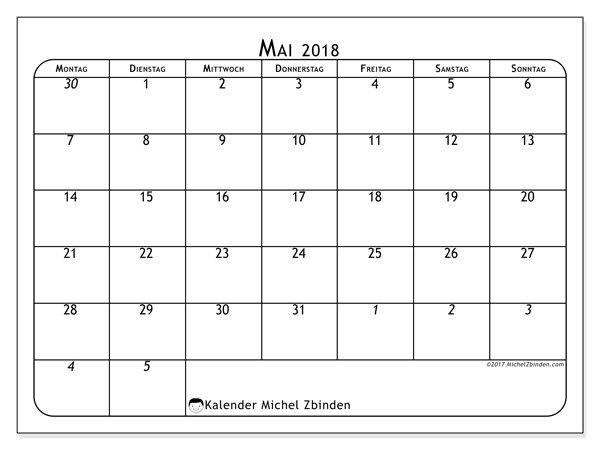 Kalender Mai 2018, Maximus