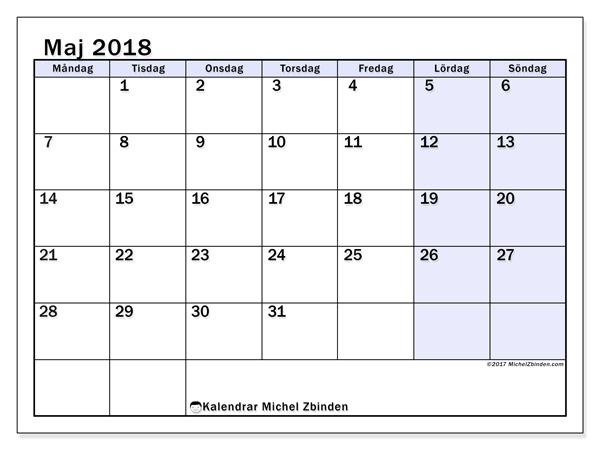 Kalender maj 2018, Auxilius