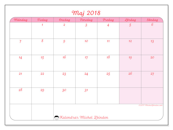 Kalender maj 2018, Generosa