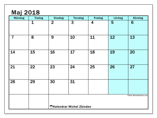 Kalender maj 2018, Laurentia