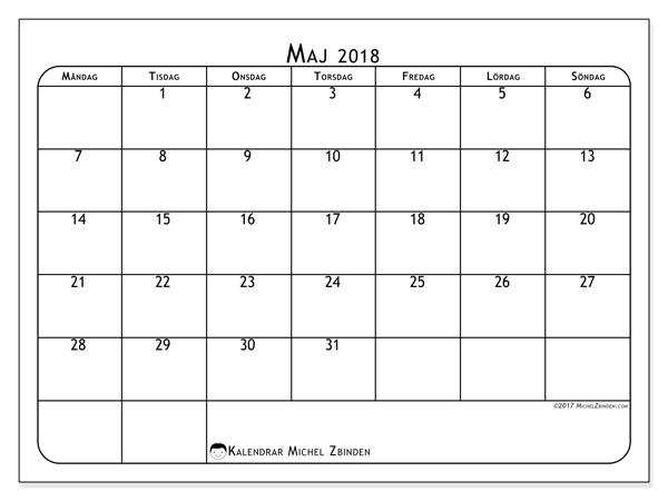 Kalender maj 2018, Marius