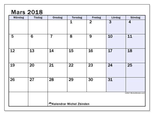 Kalender mars 2018, Auxilius