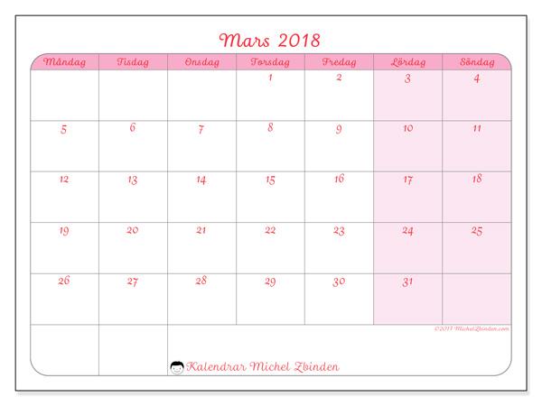 Kalender mars 2018, Generosa