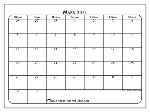 Kalender mars 2018, Maximus