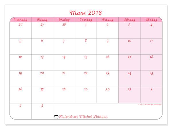Kalender mars 2018, Rosea