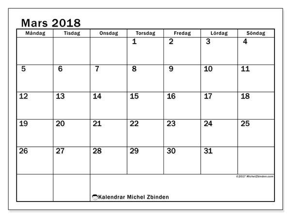 Kalender mars 2018, Tiberius