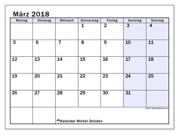 Kalender März 2018, Auxilius
