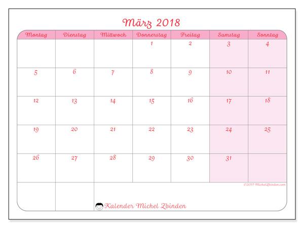 Kalender März 2018, Generosa