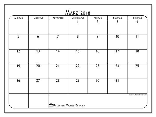 Kalender März 2018, Marius
