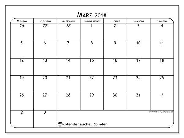 Kalender März 2018, Maximus