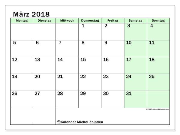 Kalender März 2018, Nereus