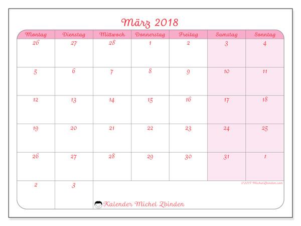 Kalender März 2018, Rosea