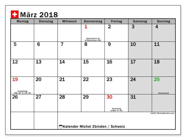 Kalender März 2018, Feiertage in Schweiz
