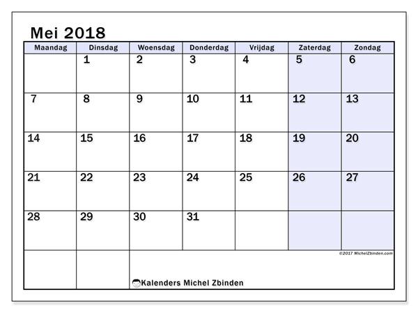 Kalender mei 2018 - Auxilius (nl)