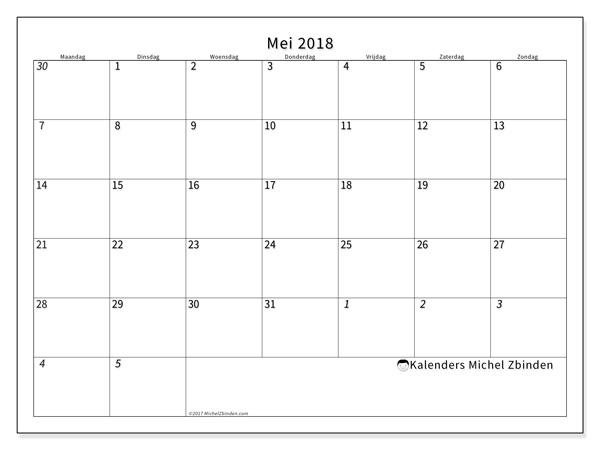 Kalender mei 2018 - Deodatus (nl)