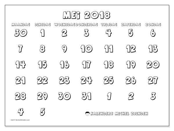 Kalender mei 2018 - Hilarius (nl)