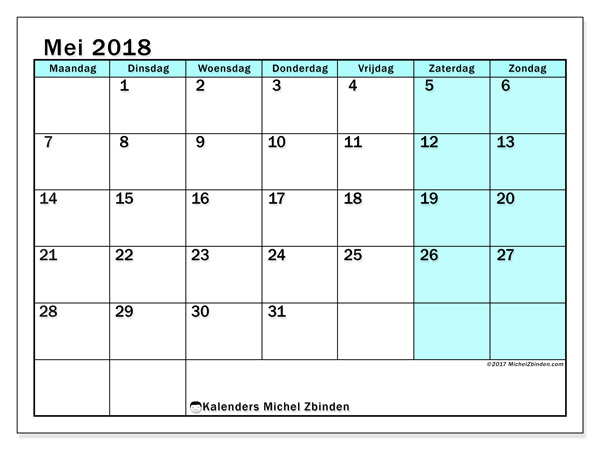 Kalender mei 2018 - Laurentia (nl)