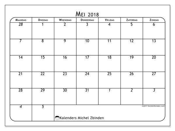Kalender mei 2018 - Maximus (nl)