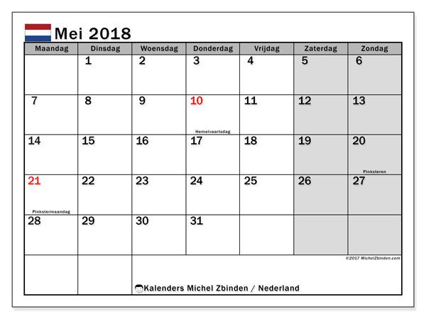 Kalender mei 2018, Feestdagen in Nederland