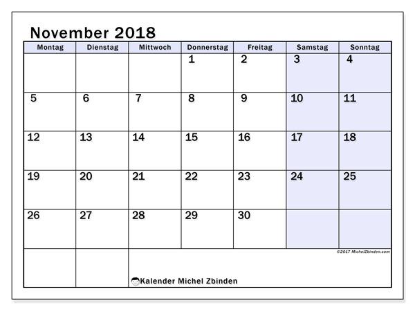 Kalender November 2018, Auxilius