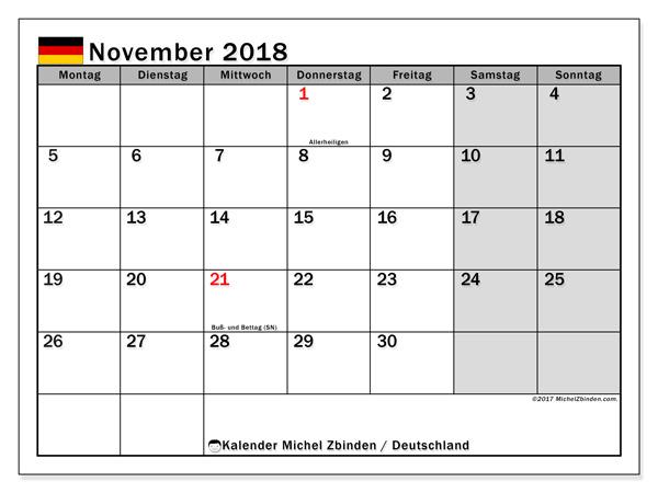 Kalender November 2018, Feiertage in Deutschland
