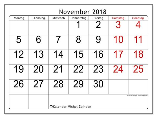 Kalender November 2018, Emericus