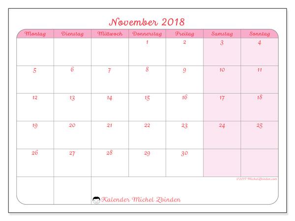 Kalender November 2018, Generosa