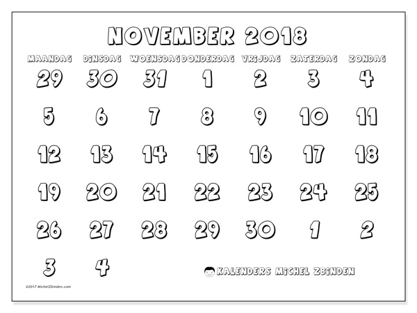 Kalender november 2018, Hilarius