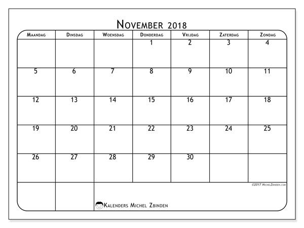 Kalender november 2018, Marius