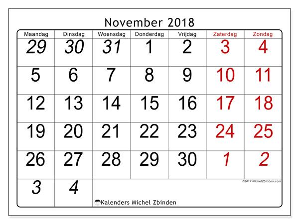 Kalender november 2018, Oseus