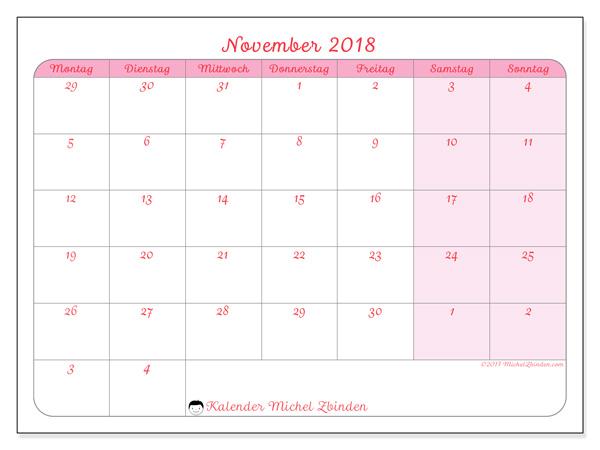 Kalender November 2018, Rosea