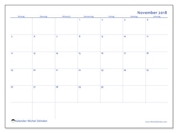 Kalender November 2018, Ursus