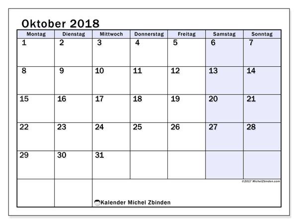 Kalender Oktober 2018, Auxilius