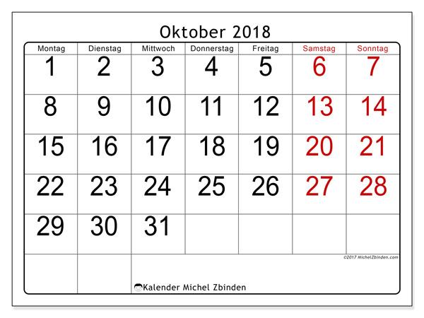 Kalender Oktober 2018, Emericus