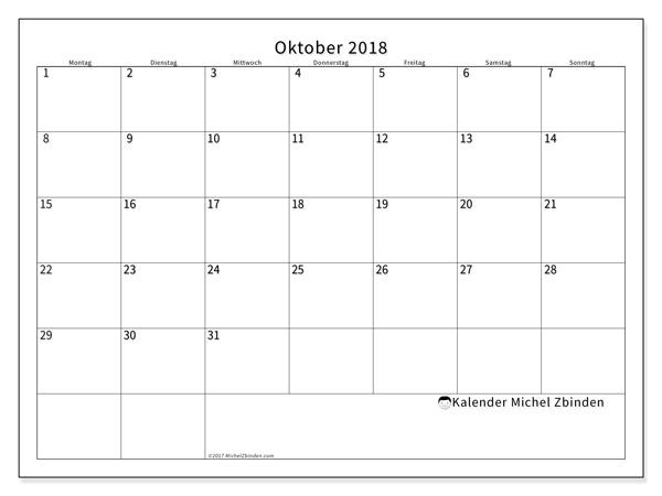 Kalender Oktober 2018, Horus