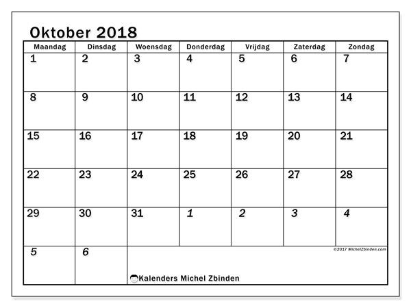 Kalender oktober 2018, Julius