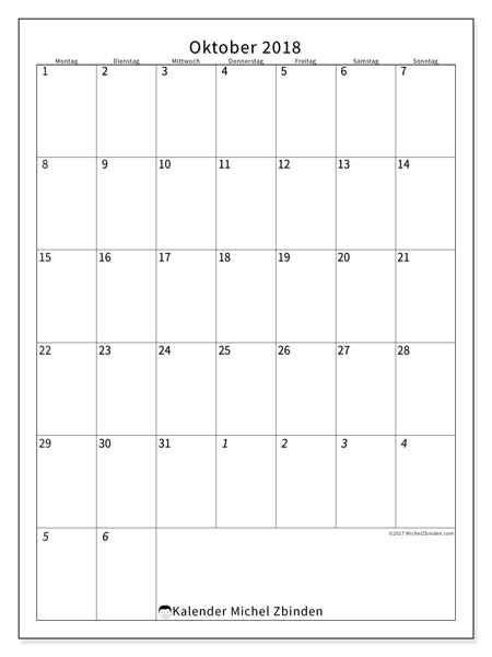 Kalender Oktober 2018, Regulus