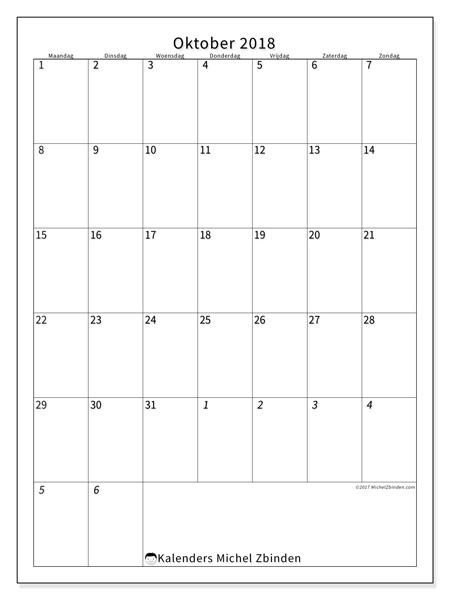 Kalender oktober 2018 - Regulus (nl)