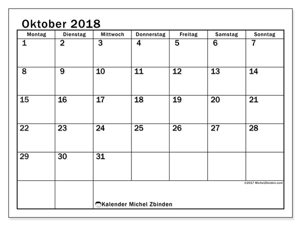 Kalender Oktober 2018, Tiberius