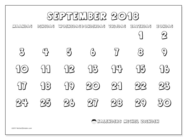 Kalender september 2018, Adrianus