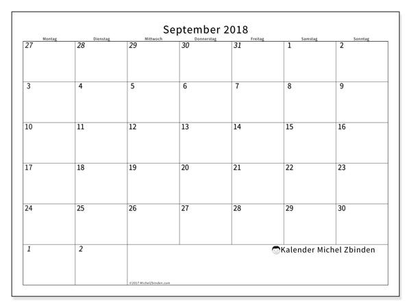 Kalender September 2018, Deodatus