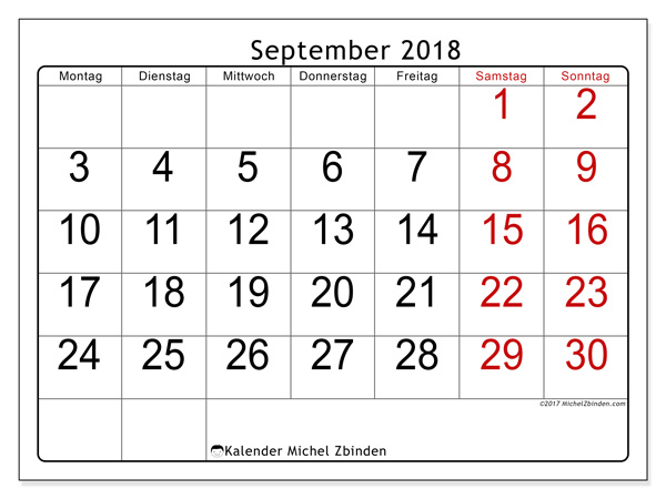 Kalender September 2018, Emericus