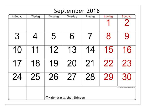Kalender september 2018, Emericus