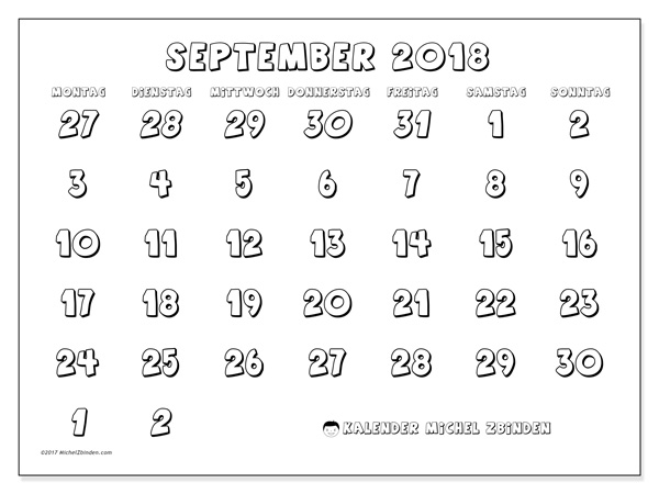 Kalender September 2018, Hilarius