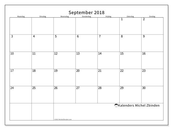 Kalender september 2018, Horus